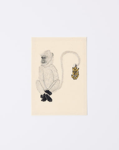 Embroidered Monkey Bananas Card