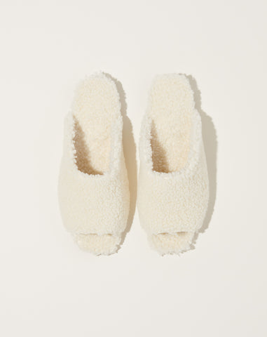 Shearling Slide in Ecru