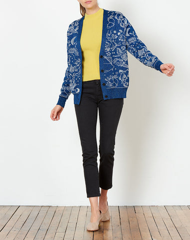 Brien Cardigan in Sapphire and Light Heather Grey