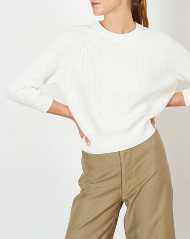 Chelsea Sweater in White Washed Cotton