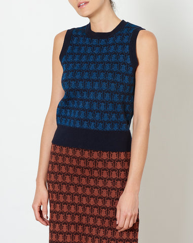 Cosette Vest in Navy and Blue Jacquard