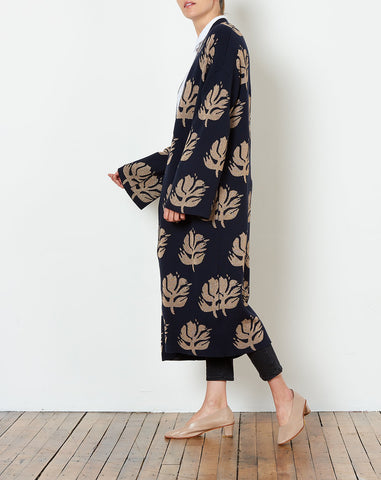 Remi Coat in Navy and Gold Jacquard