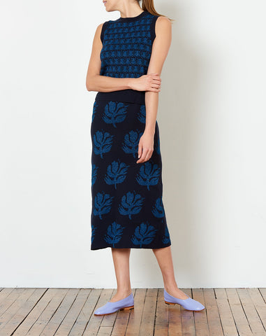 Sybil Skirt in Navy and Blue Jacquard