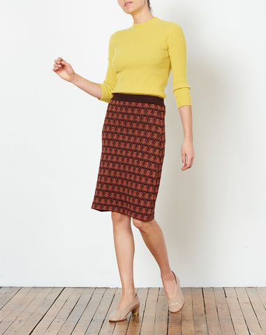 Thalia Skirt in Burnt Umber Jacquard