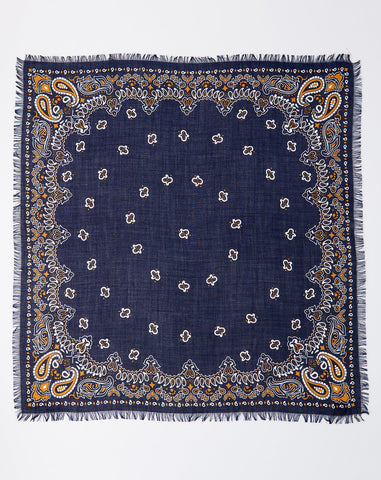 Bicolor Bandana in Navy and Mustard