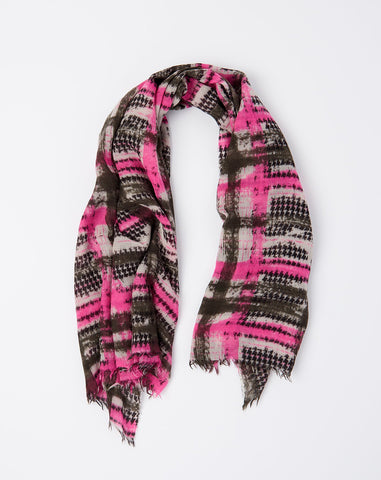 Janel Vintage Check Scarf in Pink and Olive