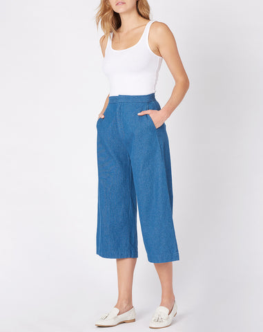 Ava Cropped Pant in Indigo
