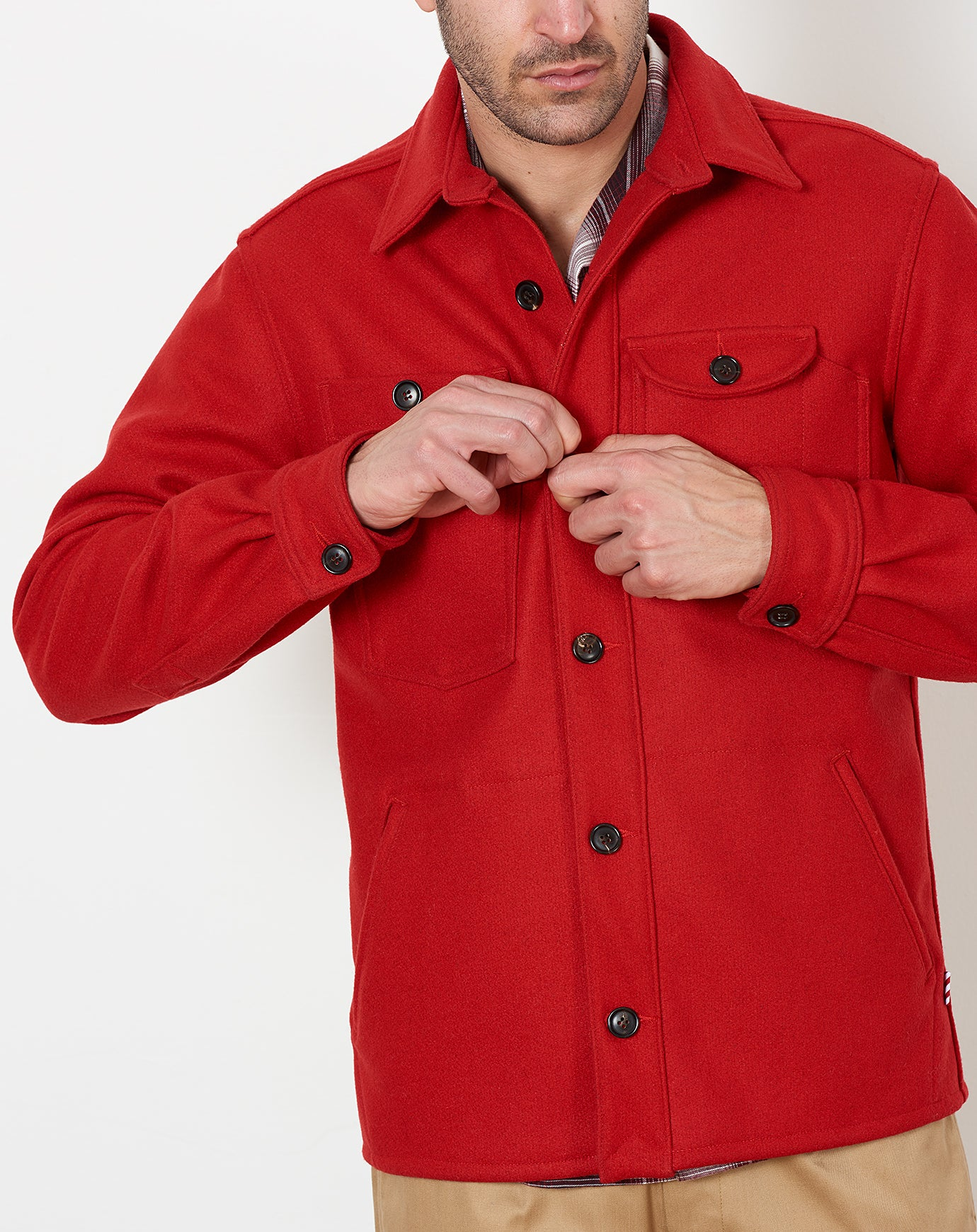 Camp Shirt in Red Melton
