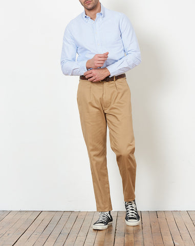 Pleated Chino in Tan
