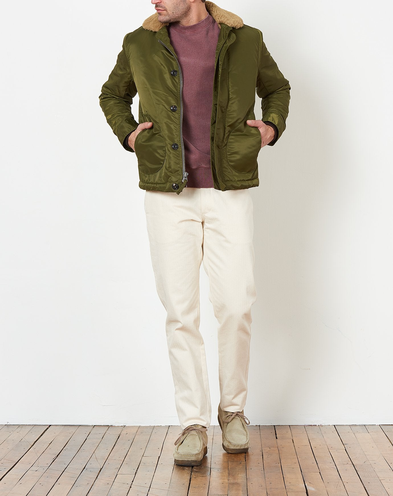 Shearling Deck Jacket in Olive