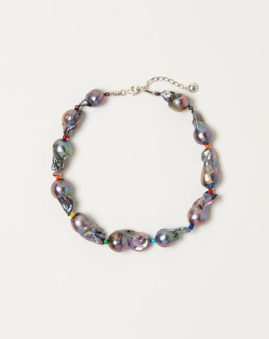 Midnight Baroque Pearl Collar Necklace