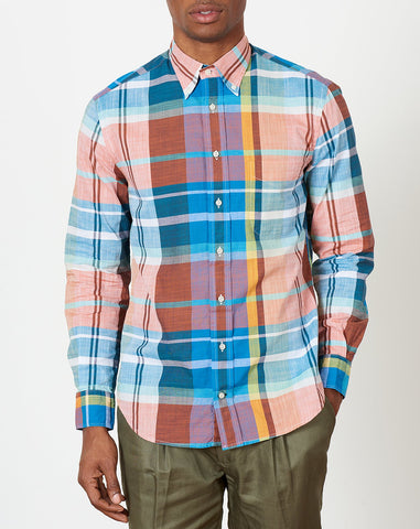 Button Down Shirt in Big Teal Madras