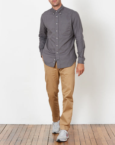 Button Down Shirt in Gray Hopsack