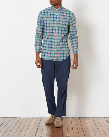 Button Down Shirt in Green Archive Madras