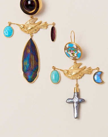 Bird Cross Drop Earrings