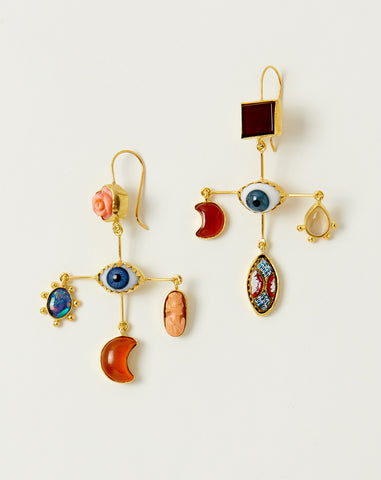 Eye Cross Drop Earrings