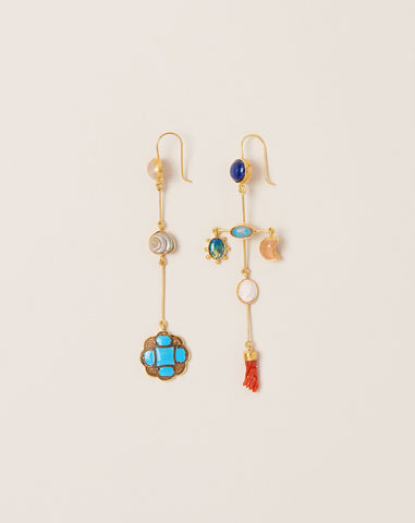 Missmatched Cross Drop Earrings