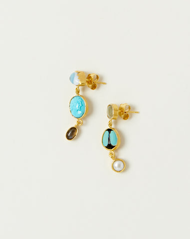 Three Charm Moving Drop Earrings