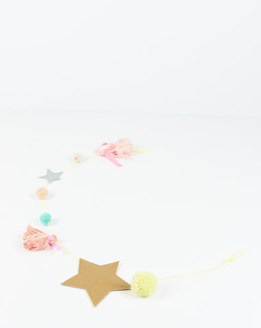 Star Tassel Garland in Gold Star and Blush