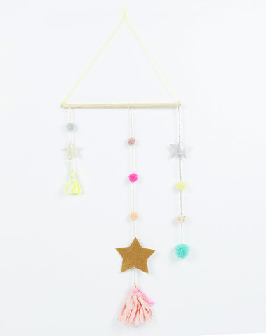 Star Tassel Mobile in Gold Star and Blush