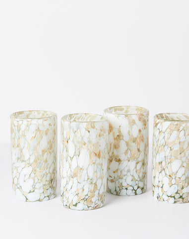Highball Confetti Glassware in White