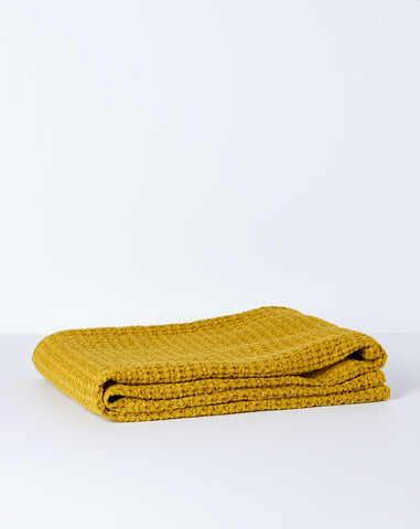 Simple Waffle Bath Towel in Mustard