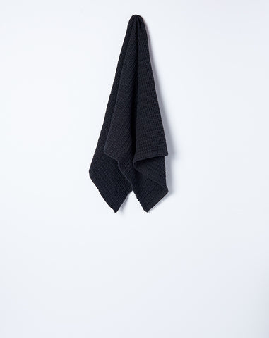 Simple Waffle Hand Towel in Black