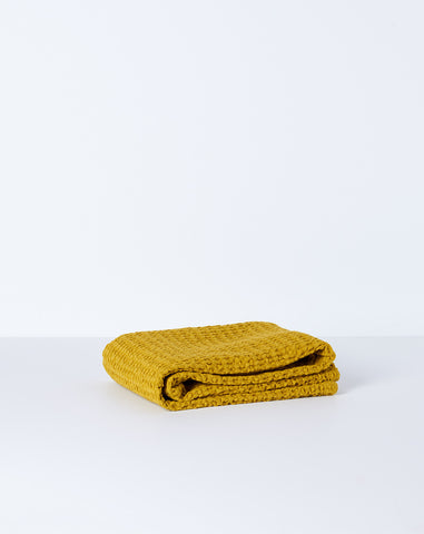 Simple Waffle Hand Towel in Mustard