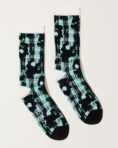 Flower Check Socks in Black and White