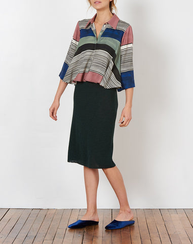 lou bel pencil skirt in forest green