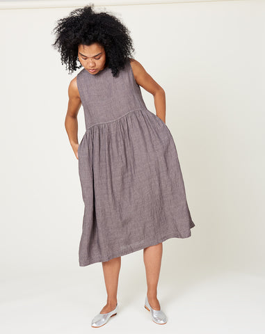 Linen Color Dye Sleeveless Dress in Charcoal