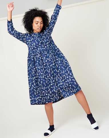 Linen Flower Dress in Navy