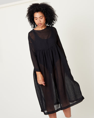 Linen Gauze Dress in Black