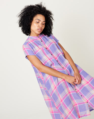 Linen Madras Check Dress in Violet