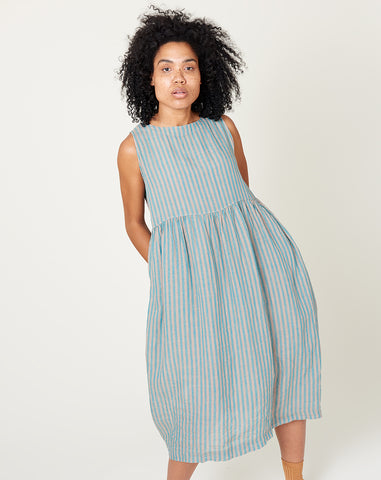 Linen Stripe Color Dye Sleeveless Dress in Green