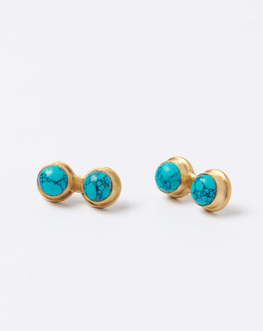 Double Thunder Studs in Turquoise