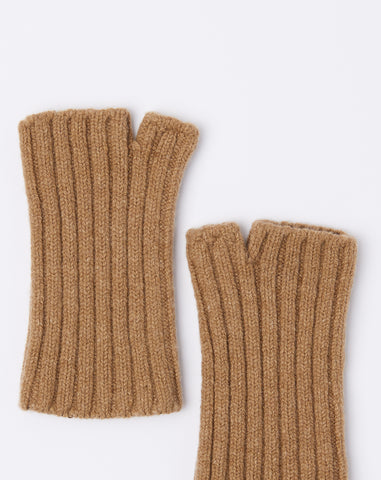 5G Short Wool Gloves in Beige