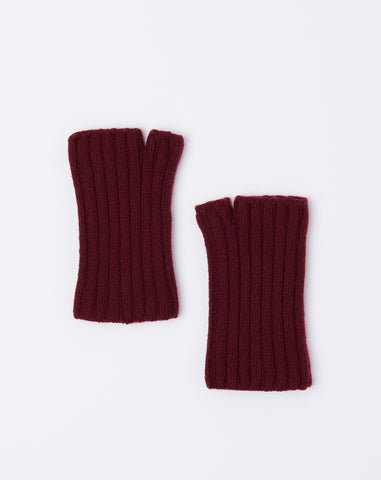 5G Short Wool Gloves in Burgundy