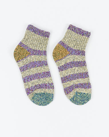 Ankle Border Socks in Purple