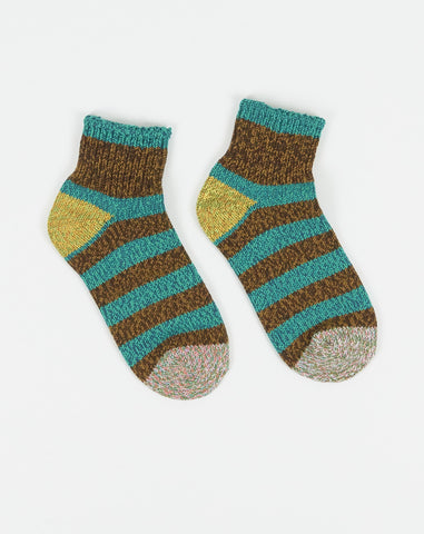 Ankle Border Socks in Turquoise