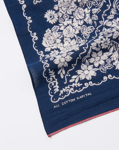 Bloom Fast Color Selvedge Bandana in Navy