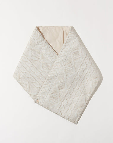 Cable Knit Print Nylon Oyse Snood Scarf in Ecru