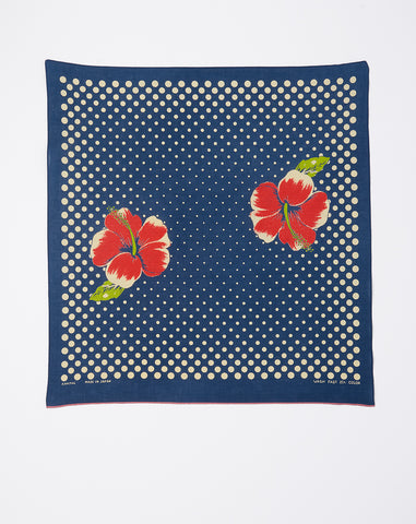 Coco Hibiscus Fastcolor Selvedge Bandana in Navy