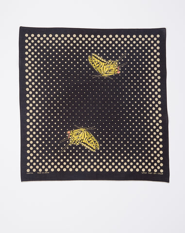 Coco Swallowtail Fastcolor Selvedge Bandana in Black