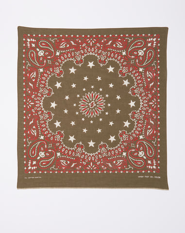 Cosmic Star Fast Color Selvedge Bandana in Khaki