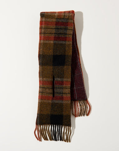 Country Wool Check X Tweed Fleecy Knit Kesa Scarf in Brown