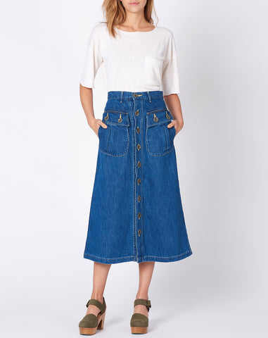 Denim Military Skirt in Indigo