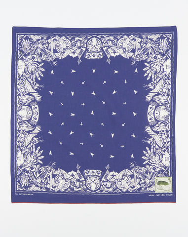 Kapital Fastcolor Selvedge Okeeffe Bandana in Purple