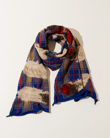 Feather Tartan Scarf in Blue