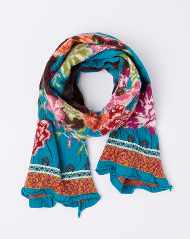 Flower and Snake Eros Scarf in Turquoise
